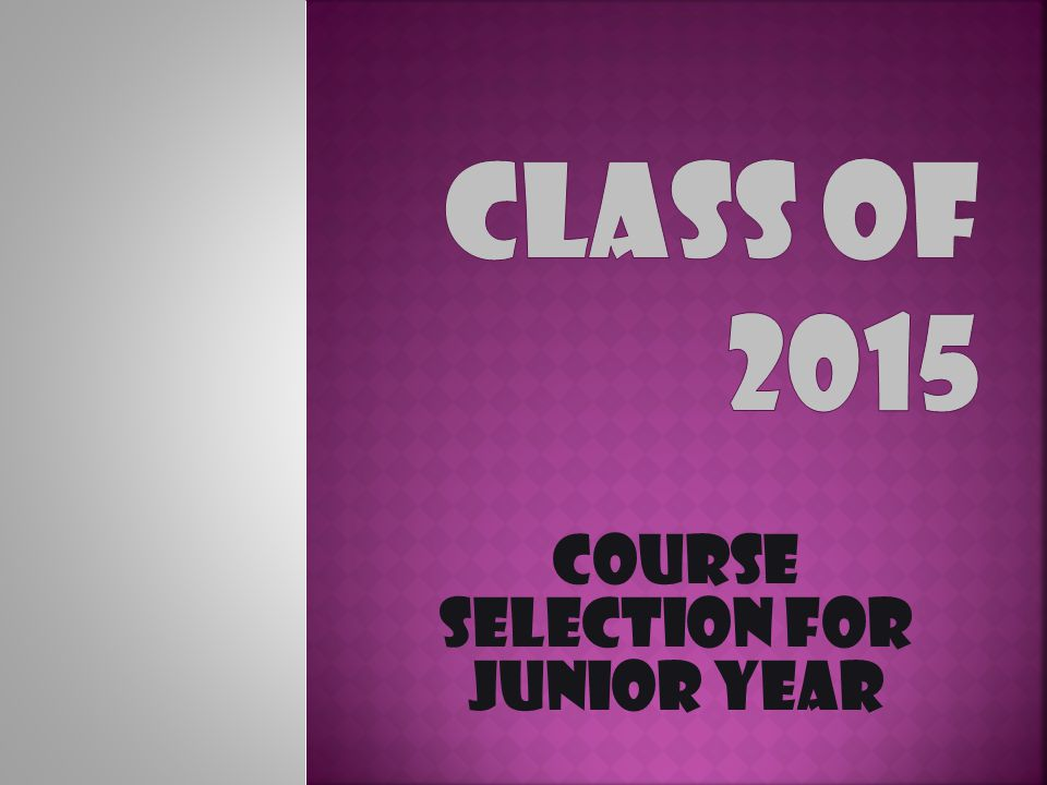 Course Selection for Junior Year