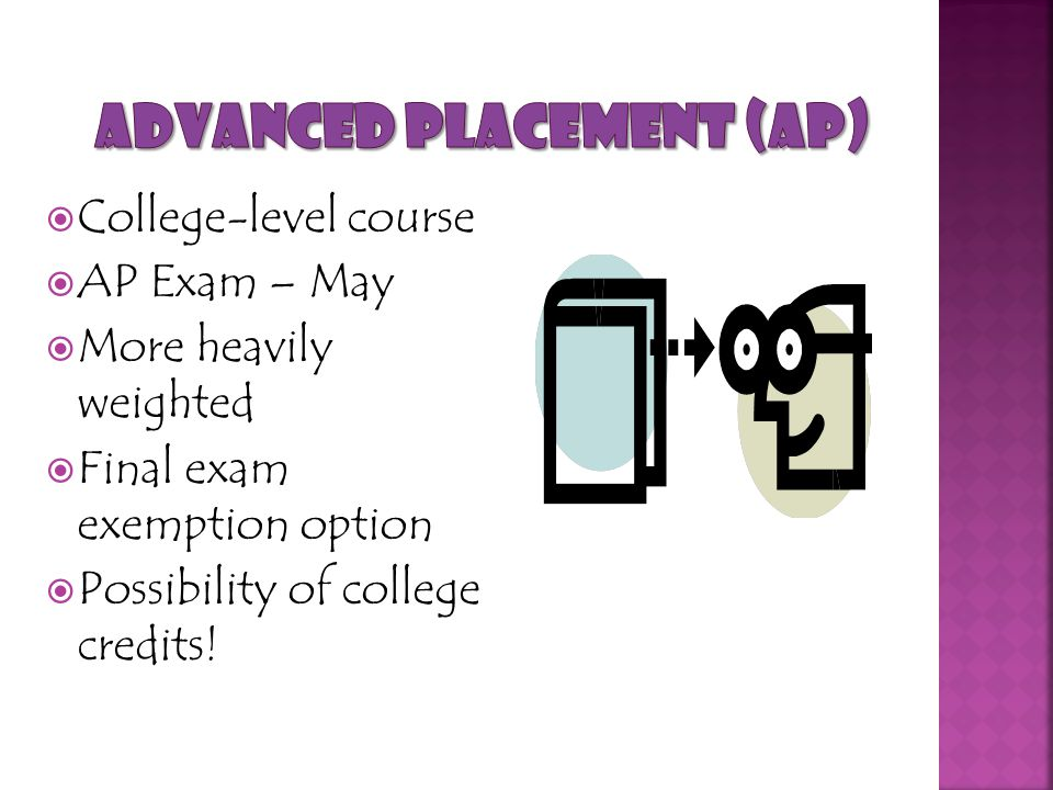  College-level course  AP Exam – May  More heavily weighted  Final exam exemption option  Possibility of college credits!