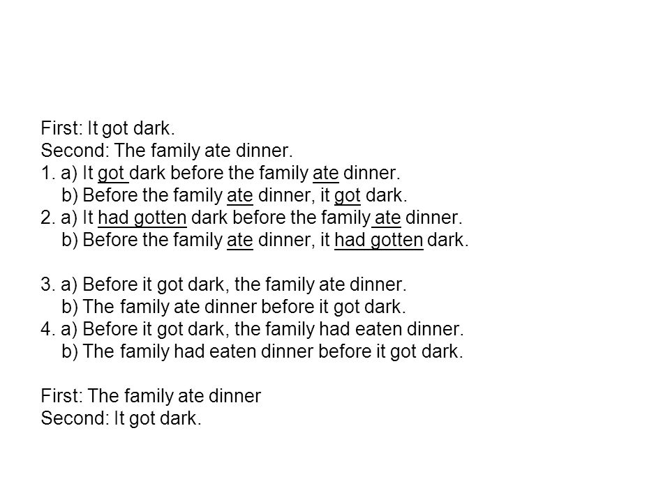 First: It got dark. Second: The family ate dinner.