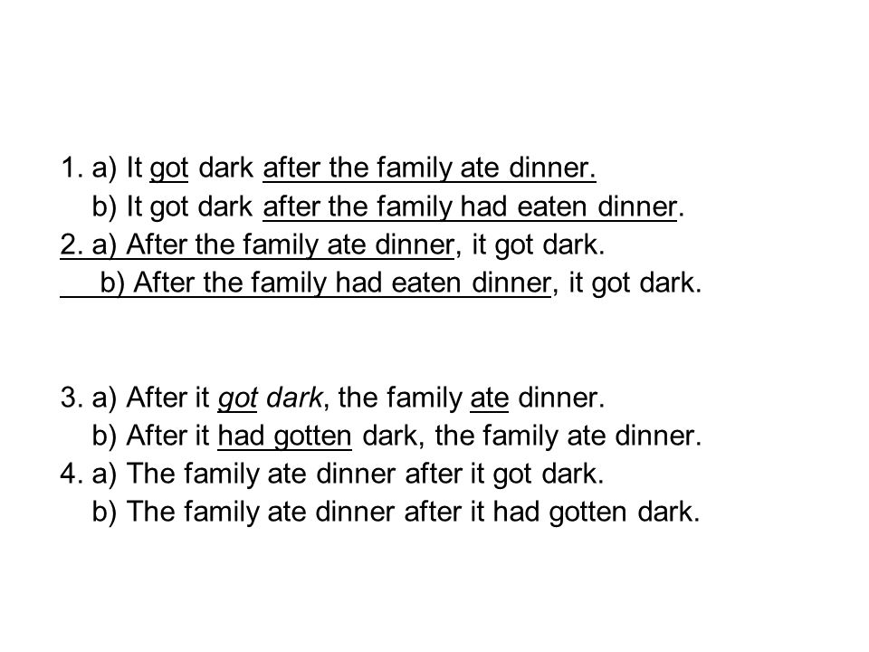 1. a) It got dark after the family ate dinner. b) It got dark after the family had eaten dinner.