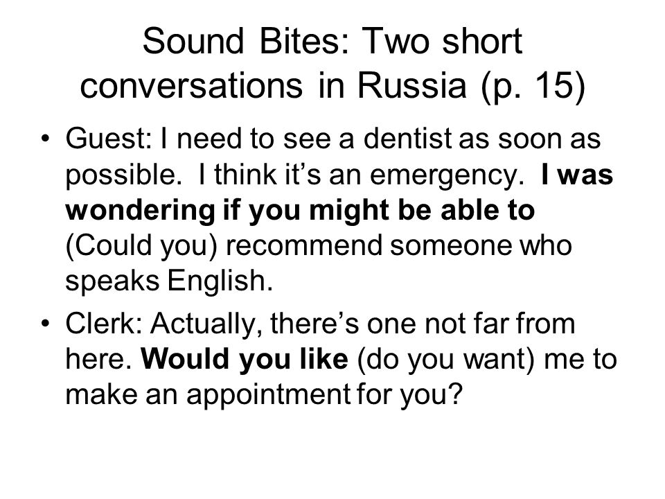 Sound Bites: Two short conversations in Russia (p.