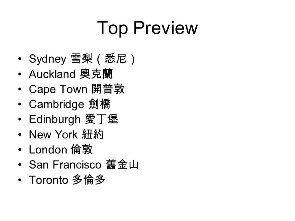 Top Preview Sydney 雪梨(悉尼) Auckland 奧克蘭 Cape Town 開普敦 Cambridge 劍橋 Edinburgh 愛丁堡 New York 紐約 London 倫敦 San Francisco 舊金山 Toronto 多倫多