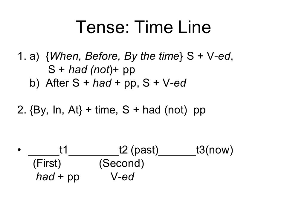 Tense: Time Line 1. a) {When, Before, By the time} S + V-ed, S + had (not)+ pp b) After S + had + pp, S + V-ed 2. {By, In, At} + time, S + had (not) p