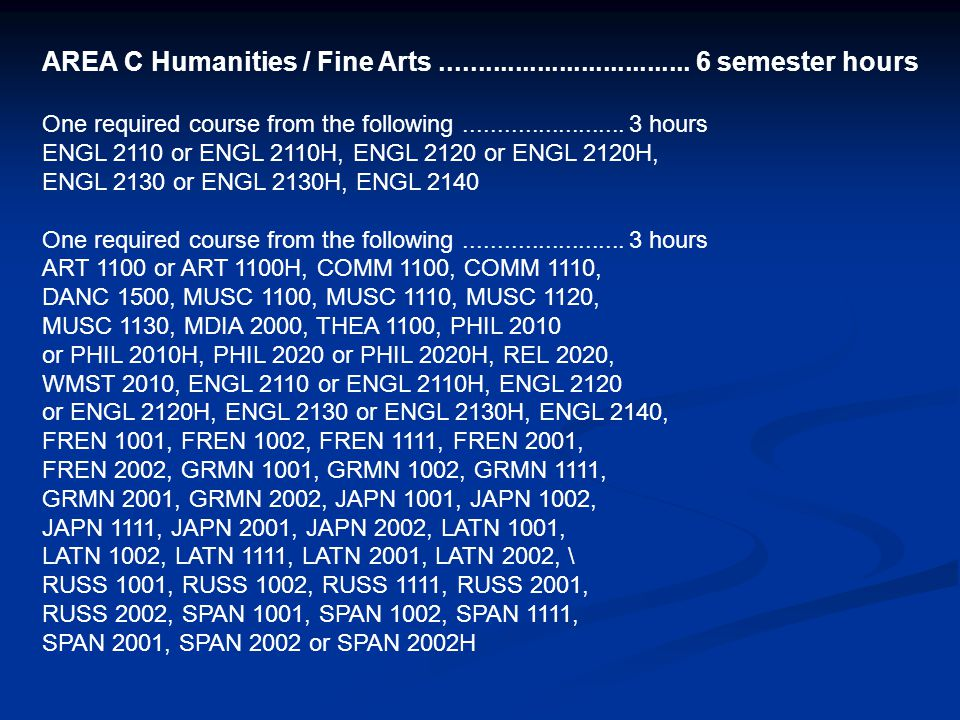 AREA C Humanities / Fine Arts.................................. 6 semester hours One required course from the following........................ 3 hour