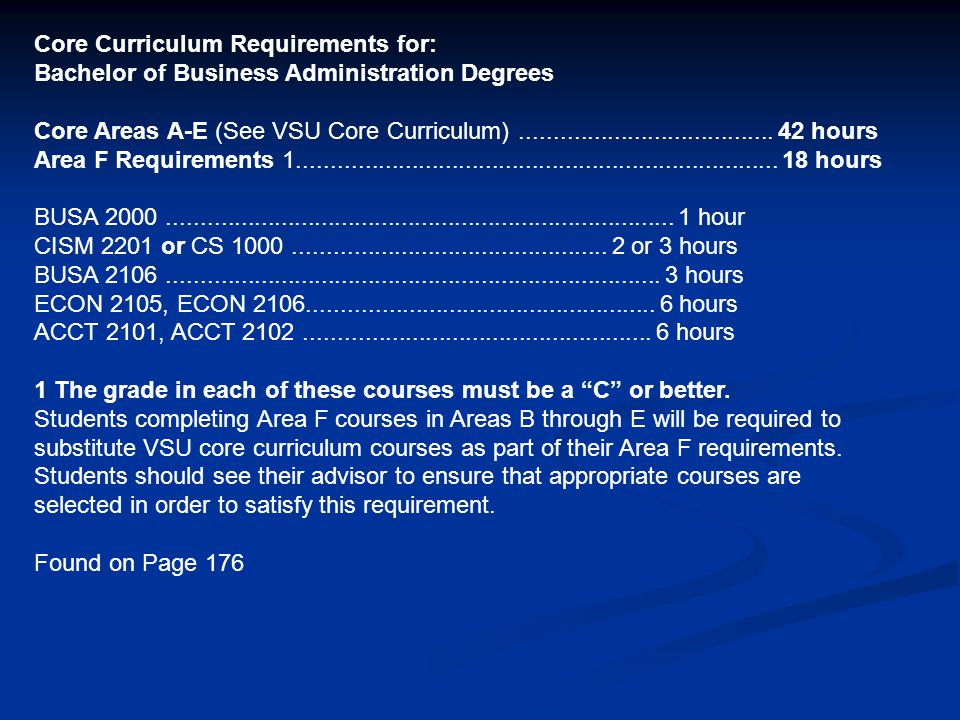 Core Curriculum Requirements for: Bachelor of Business Administration Degrees Core Areas A-E (See VSU Core Curriculum)................................