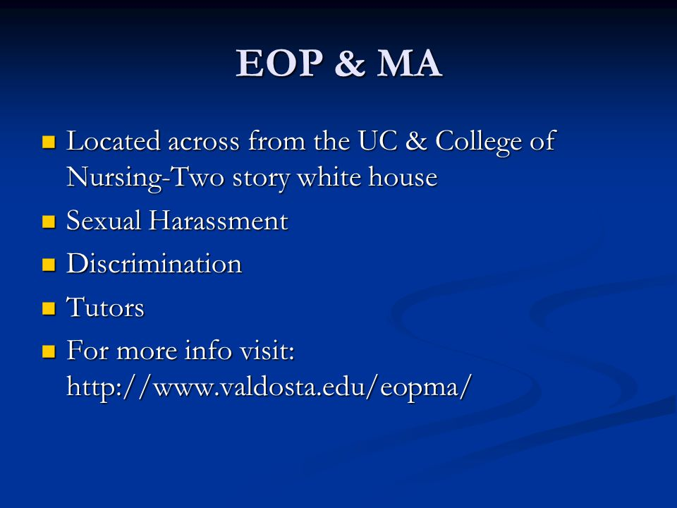 EOP & MA Located across from the UC & College of Nursing-Two story white house Located across from the UC & College of Nursing-Two story white house S