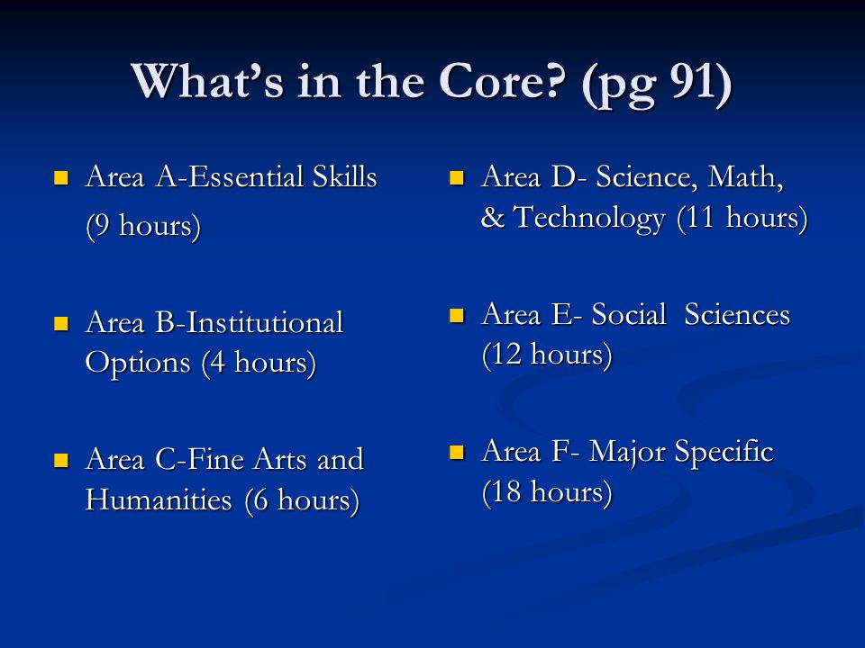 Area A Essential Skills................................................