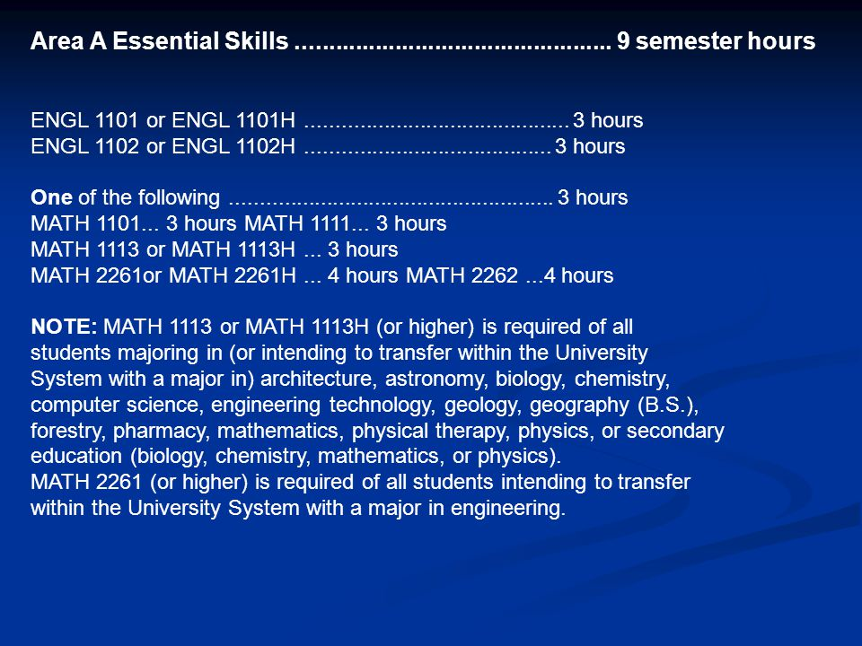 Area A Essential Skills................................................ 9 semester hours ENGL 1101 or ENGL 1101H......................................