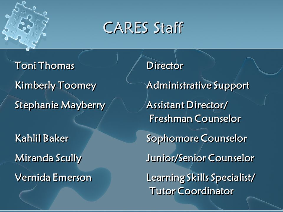 CARES Staff Toni Thomas Director Kimberly Toomey Administrative Support Stephanie Mayberry Assistant Director/ Freshman Counselor Kahlil Baker Sophomo