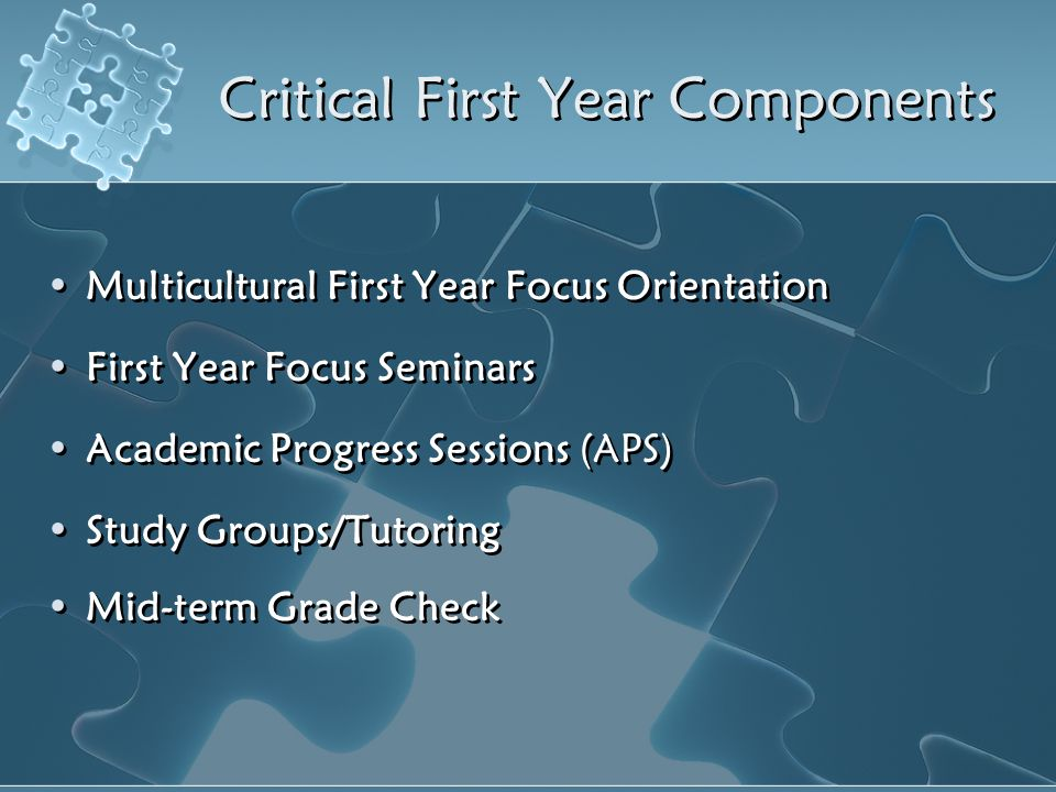 Critical First Year Components Multicultural First Year Focus Orientation First Year Focus Seminars Academic Progress Sessions (APS) Study Groups/Tuto