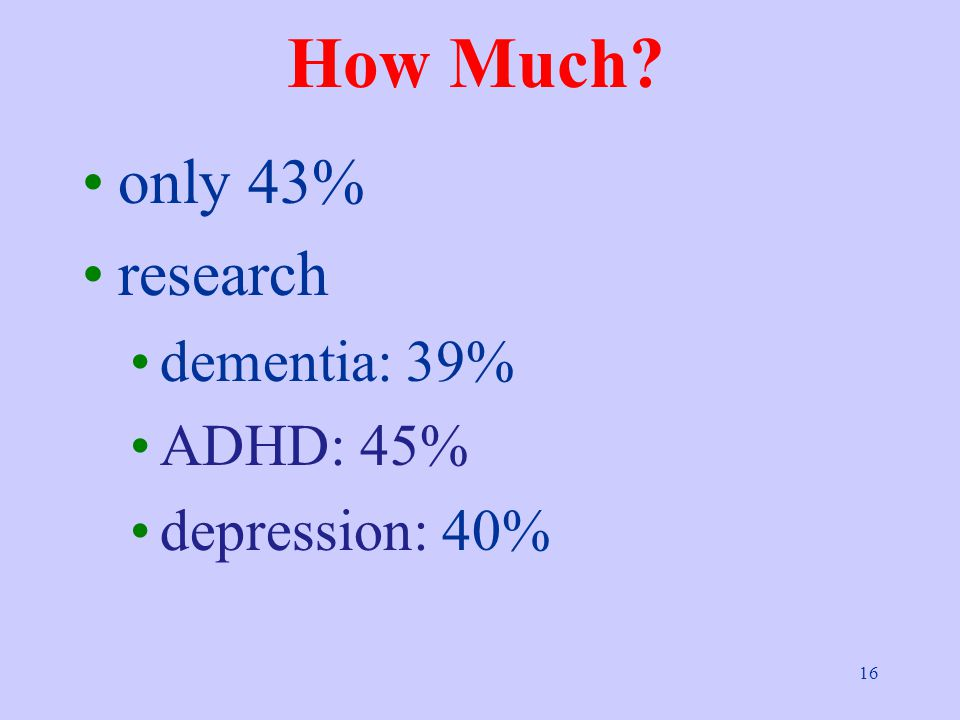 16 How Much only 43% research dementia: 39% ADHD: 45% depression: 40%