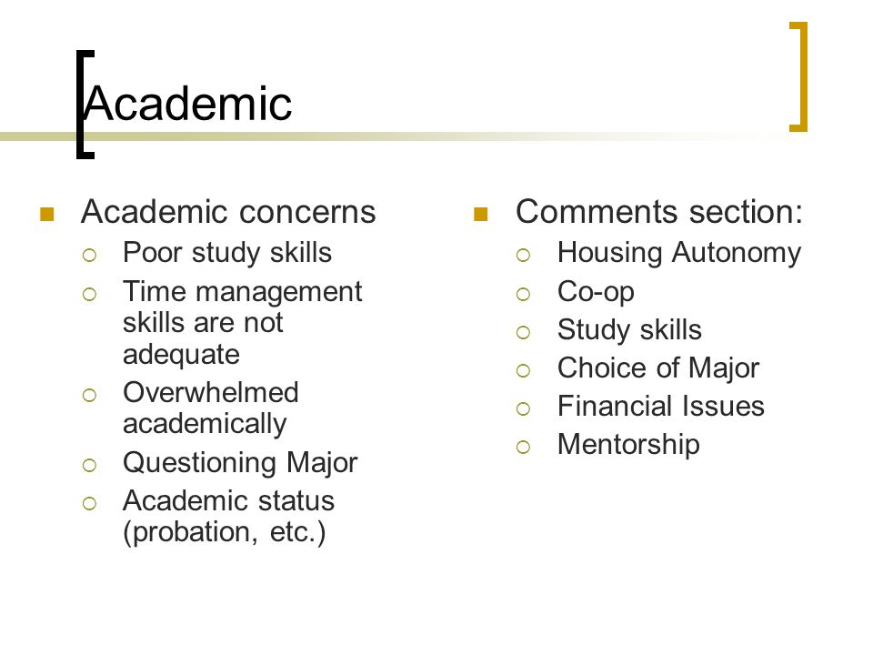 Academic Academic concerns  Poor study skills  Time management skills are not adequate  Overwhelmed academically  Questioning Major  Academic sta