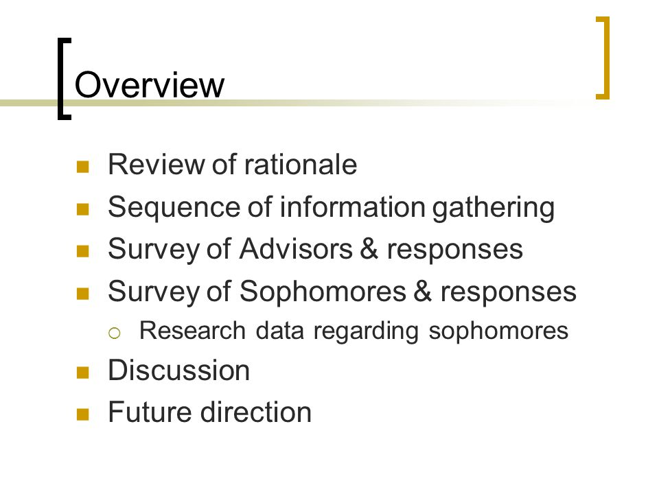 Overview Review of rationale Sequence of information gathering Survey of Advisors & responses Survey of Sophomores & responses  Research data regardi