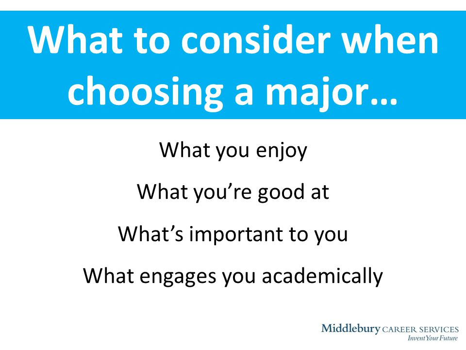 What to consider when choosing a major… What you enjoy What you're good at What's important to you What engages you academically