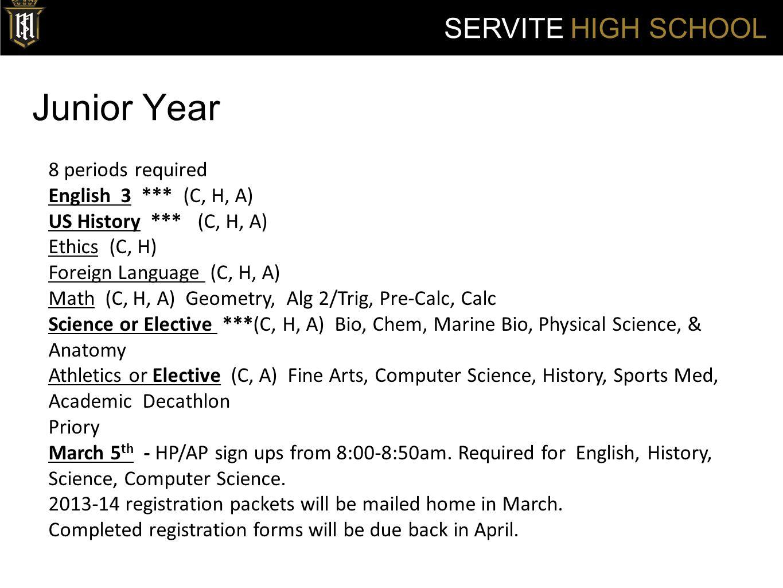 Servite Summer School SERVITE HIGH SCHOOL All semester F grades must be repeated during Servite summer school.