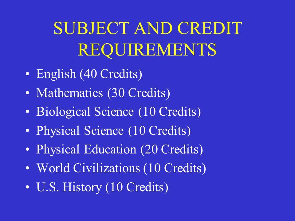 SUBJECT AND CREDIT REQUIREMENTS English (40 Credits) Mathematics (30 Credits) Biological Science (10 Credits) Physical Science (10 Credits) Physical Education (20 Credits) World Civilizations (10 Credits) U.S.