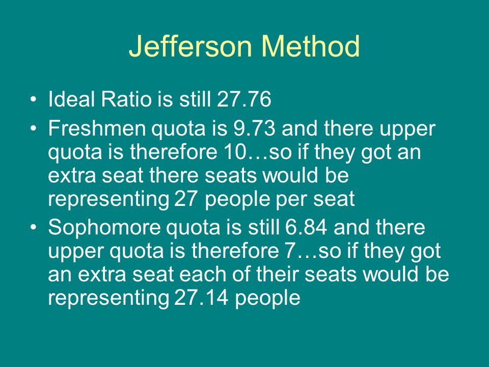 Jefferson Method Ideal Ratio is still 27.76 Freshmen quota is 9.73 and there upper quota is therefore 10…so if they got an extra seat there seats woul