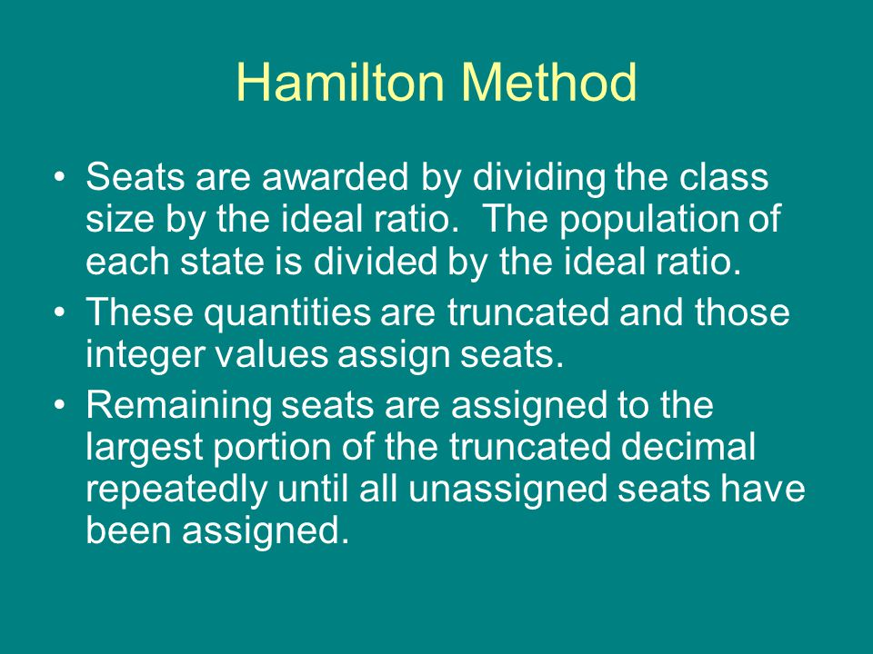 Hamilton Method – Example 1 Suppose we are assigning 23 seats to the new North Paulding Committee on Excellence.