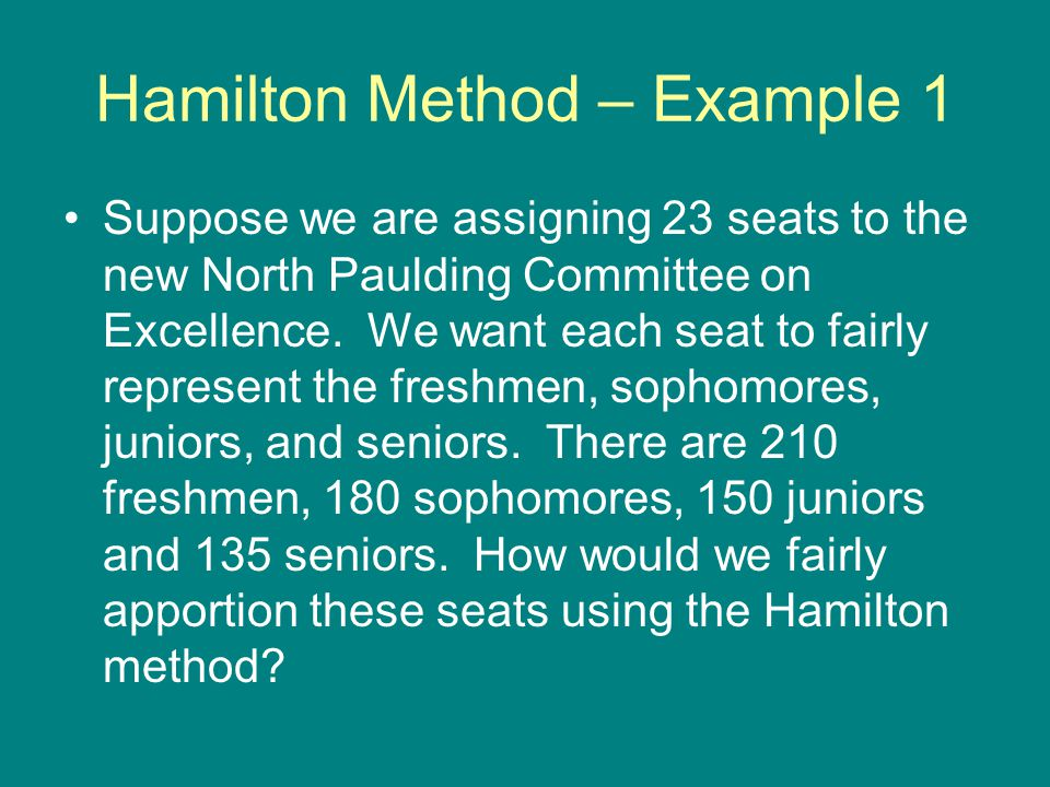 Jefferson Method Ideal Ratio is still 27.76 Freshmen quota is 9.73 and there upper quota is therefore 10…so if they got an extra seat there seats would be representing 27 people per seat Sophomore quota is still 6.84 and there upper quota is therefore 7…so if they got an extra seat each of their seats would be representing 27.14 people