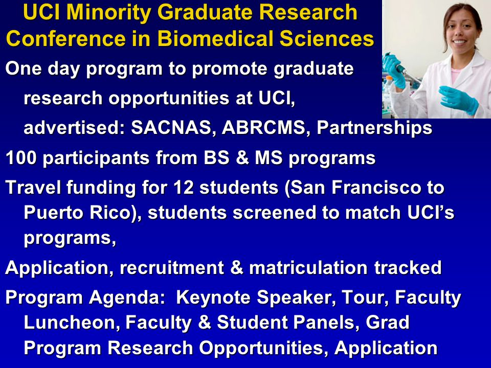 One day program to promote graduate research opportunities at UCI, advertised: SACNAS, ABRCMS, Partnerships 100 participants from BS & MS programs Tra