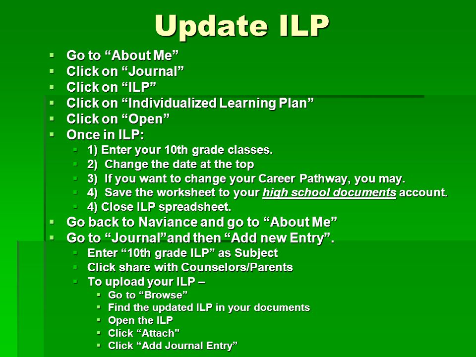 Update ILP  Go to About Me  Click on Journal  Click on ILP  Click on Individualized Learning Plan  Click on Open  Once in ILP:  1) Enter your 10th grade classes.