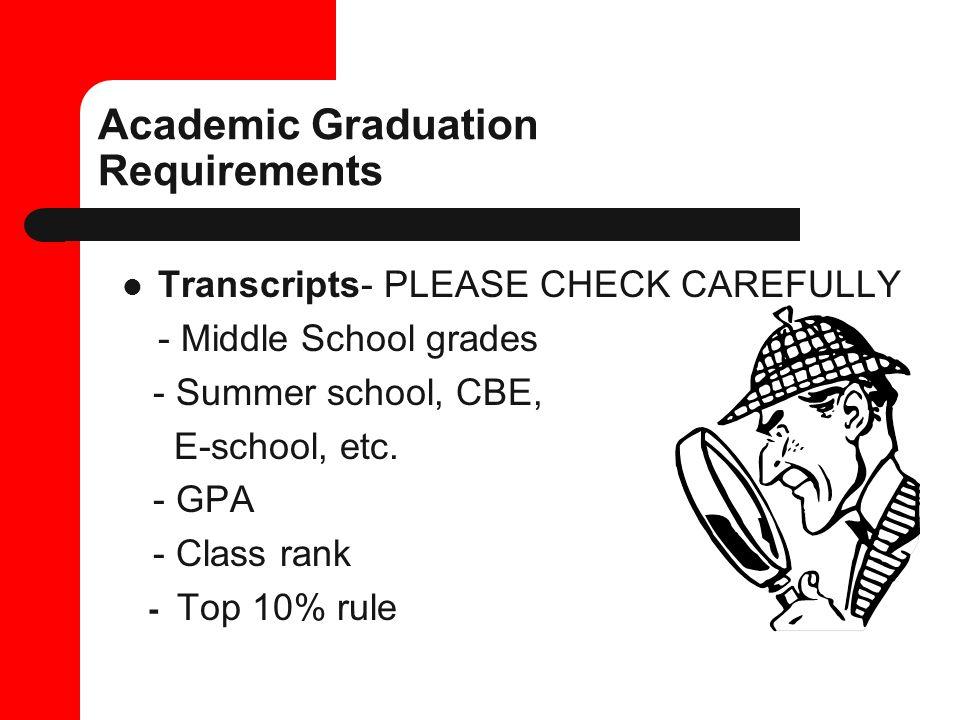 Academic Graduation Requirements Transcripts- PLEASE CHECK CAREFULLY - Middle School grades - Summer school, CBE, E-school, etc.