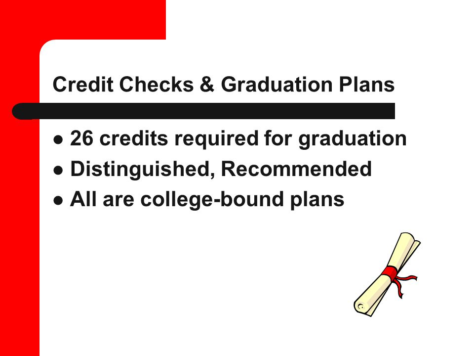 Credit Checks & Graduation Plans 26 credits required for graduation Distinguished, Recommended All are college-bound plans