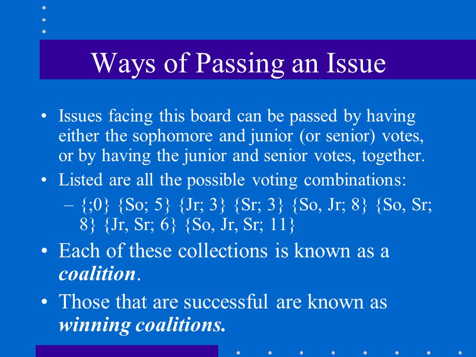 Ways of Passing an Issue Issues facing this board can be passed by having either the sophomore and junior (or senior) votes, or by having the junior a