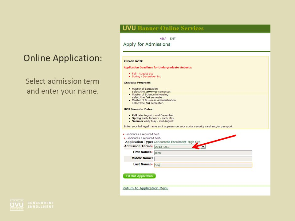 Online Application: Select admission term and enter your name.