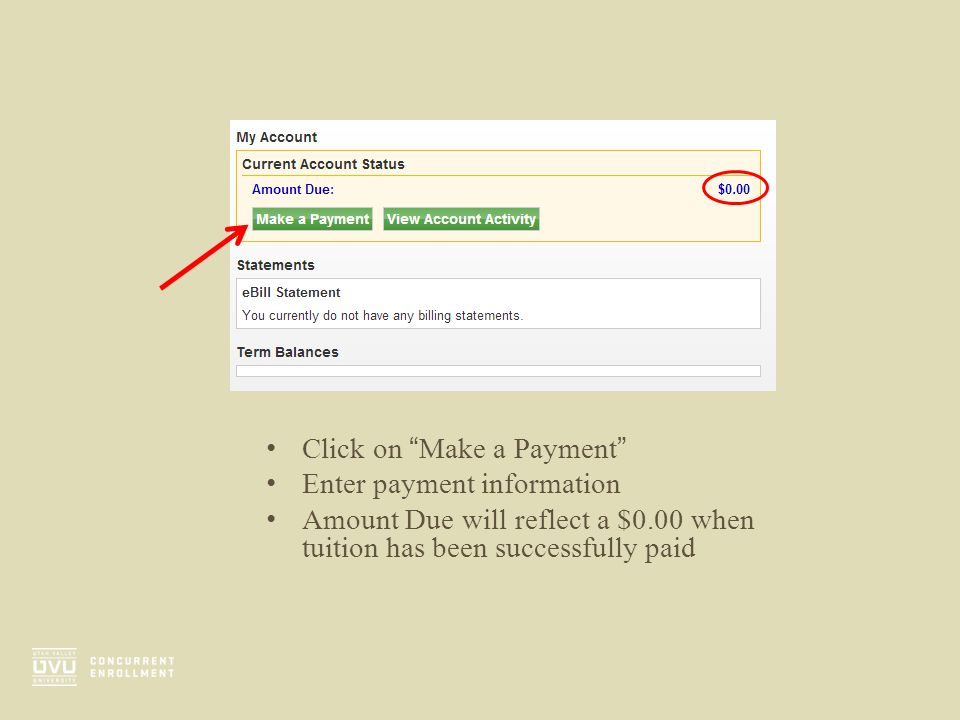 """Click on """"Make a Payment"""" Enter payment information Amount Due will reflect a $0.00 when tuition has been successfully paid"""
