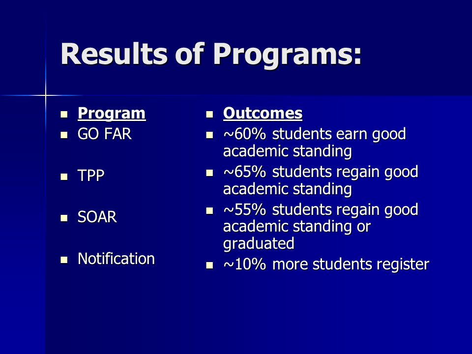 Results of Programs: Program Program GO FAR GO FAR TPP TPP SOAR SOAR Notification Notification Outcomes Outcomes ~60% students earn good academic stan