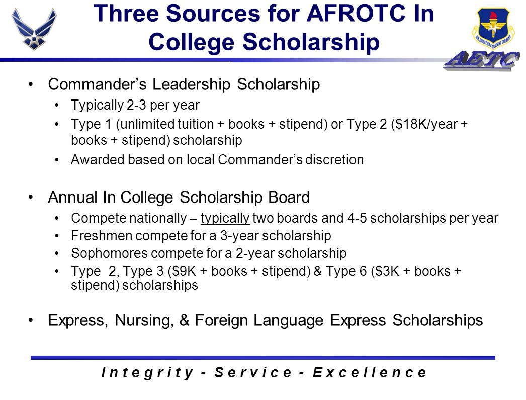 I n t e g r i t y - S e r v i c e - E x c e l l e n c e Three Sources for AFROTC In College Scholarship Commander's Leadership Scholarship Typically 2-3 per year Type 1 (unlimited tuition + books + stipend) or Type 2 ($18K/year + books + stipend) scholarship Awarded based on local Commander's discretion Annual In College Scholarship Board Compete nationally – typically two boards and 4-5 scholarships per year Freshmen compete for a 3-year scholarship Sophomores compete for a 2-year scholarship Type 2, Type 3 ($9K + books + stipend) & Type 6 ($3K + books + stipend) scholarships Express, Nursing, & Foreign Language Express Scholarships
