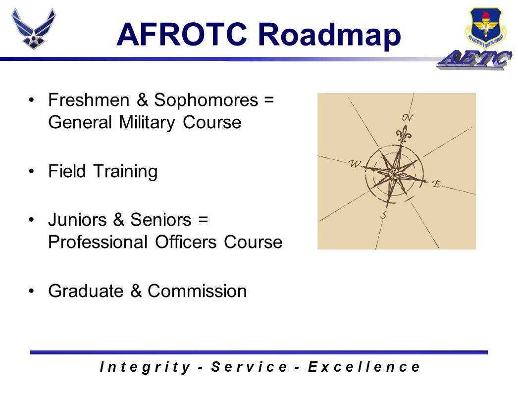I n t e g r i t y - S e r v i c e - E x c e l l e n c e AFROTC Roadmap Freshmen & Sophomores = General Military Course Field Training Juniors & Seniors = Professional Officers Course Graduate & Commission