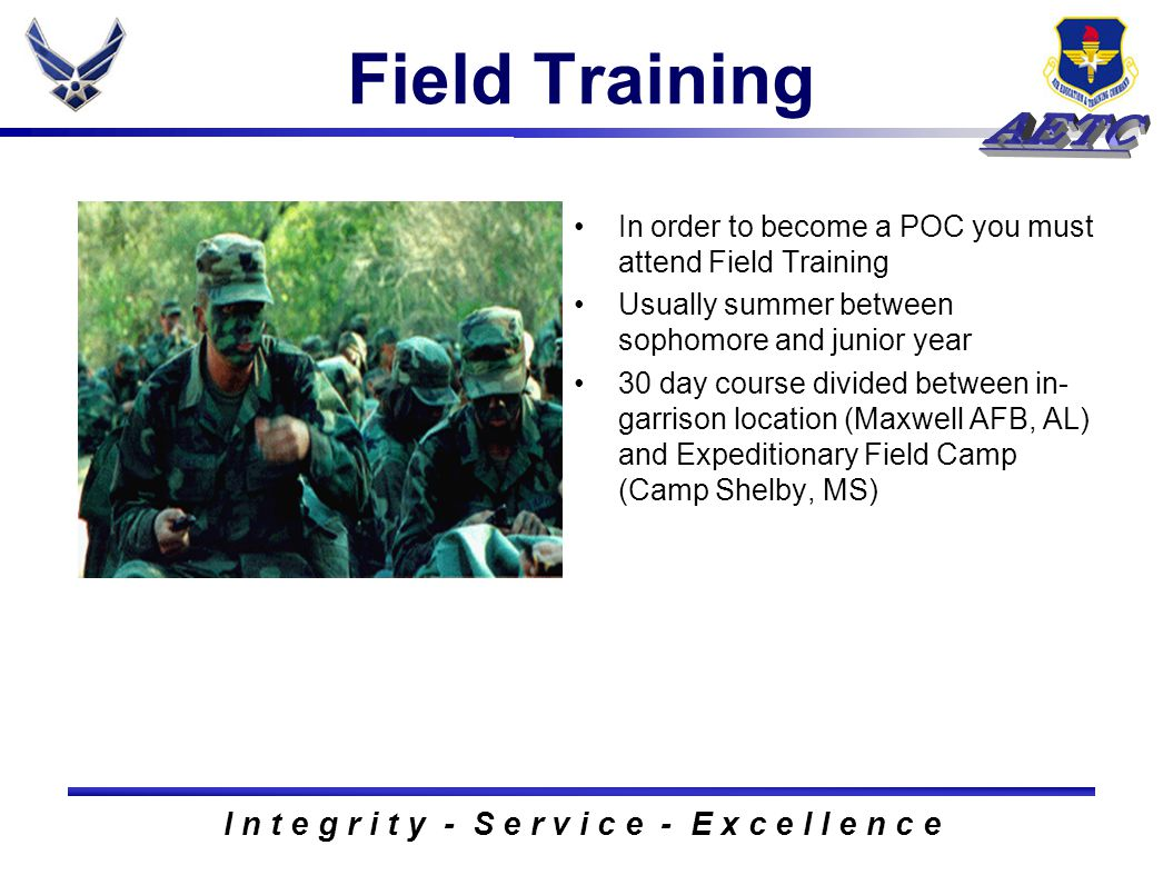 I n t e g r i t y - S e r v i c e - E x c e l l e n c e Field Training In order to become a POC you must attend Field Training Usually summer between