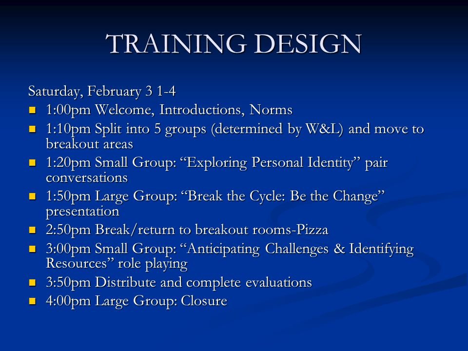 TRAINING DESIGN Saturday, February 3 1-4 1:00pm Welcome, Introductions, Norms 1:00pm Welcome, Introductions, Norms 1:10pm Split into 5 groups (determined by W&L) and move to breakout areas 1:10pm Split into 5 groups (determined by W&L) and move to breakout areas 1:20pm Small Group: Exploring Personal Identity pair conversations 1:20pm Small Group: Exploring Personal Identity pair conversations 1:50pm Large Group: Break the Cycle: Be the Change presentation 1:50pm Large Group: Break the Cycle: Be the Change presentation 2:50pm Break/return to breakout rooms-Pizza 2:50pm Break/return to breakout rooms-Pizza 3:00pm Small Group: Anticipating Challenges & Identifying Resources role playing 3:00pm Small Group: Anticipating Challenges & Identifying Resources role playing 3:50pm Distribute and complete evaluations 3:50pm Distribute and complete evaluations 4:00pm Large Group: Closure 4:00pm Large Group: Closure