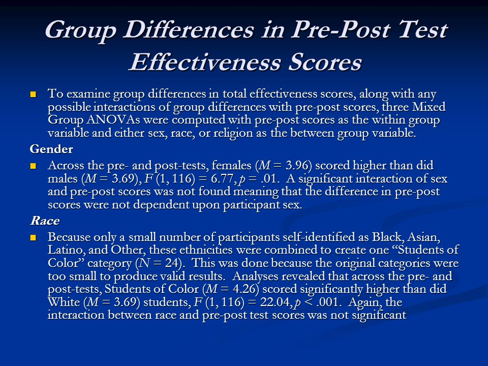 Group Differences in Pre-Post Test Effectiveness Scores To examine group differences in total effectiveness scores, along with any possible interactio