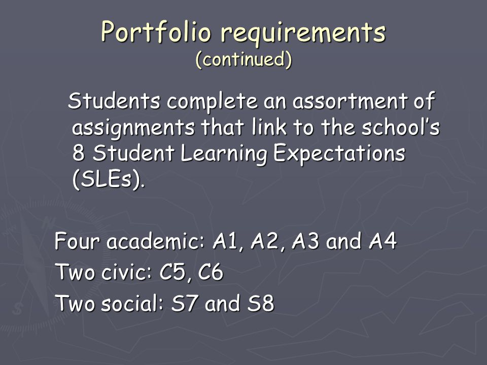 Portfolio requirements (continued) Students complete an assortment of assignments that link to the school's 8 Student Learning Expectations (SLEs). St