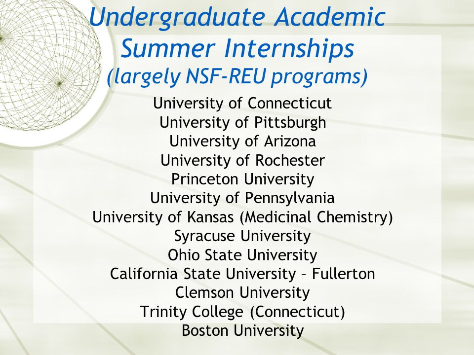Undergraduate Academic Summer Internships (largely NSF-REU programs) University of Connecticut University of Pittsburgh University of Arizona University of Rochester Princeton University University of Pennsylvania University of Kansas (Medicinal Chemistry) Syracuse University Ohio State University California State University – Fullerton Clemson University Trinity College (Connecticut) Boston University