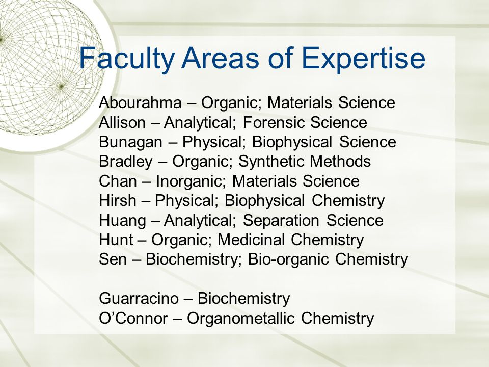 Faculty Areas of Expertise Abourahma – Organic; Materials Science Allison – Analytical; Forensic Science Bunagan – Physical; Biophysical Science Bradley – Organic; Synthetic Methods Chan – Inorganic; Materials Science Hirsh – Physical; Biophysical Chemistry Huang – Analytical; Separation Science Hunt – Organic; Medicinal Chemistry Sen – Biochemistry; Bio-organic Chemistry Guarracino – Biochemistry O'Connor – Organometallic Chemistry