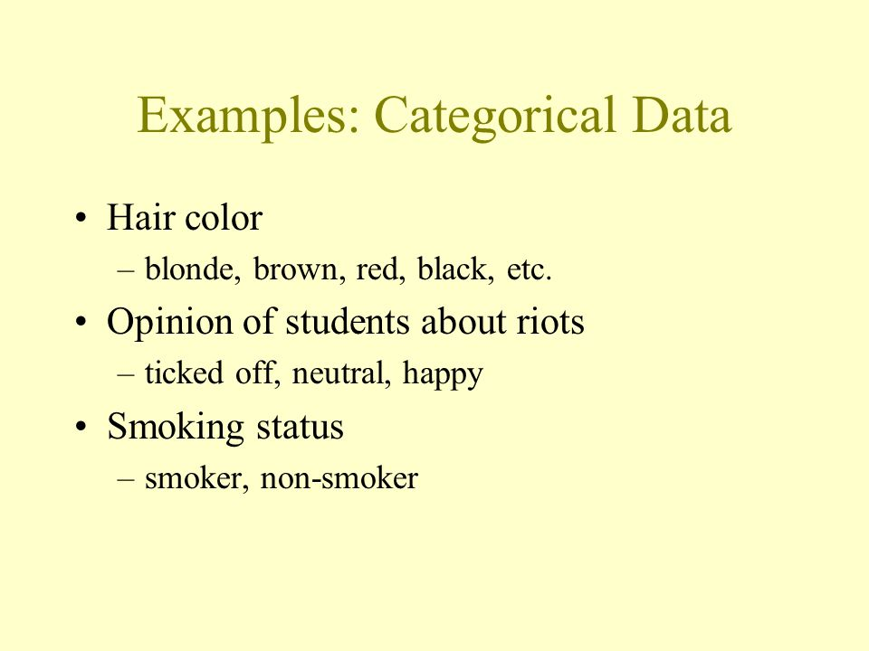 Categorical Data The objects being studied are grouped into categories based on some qualitative trait. The resulting data are merely labels or catego