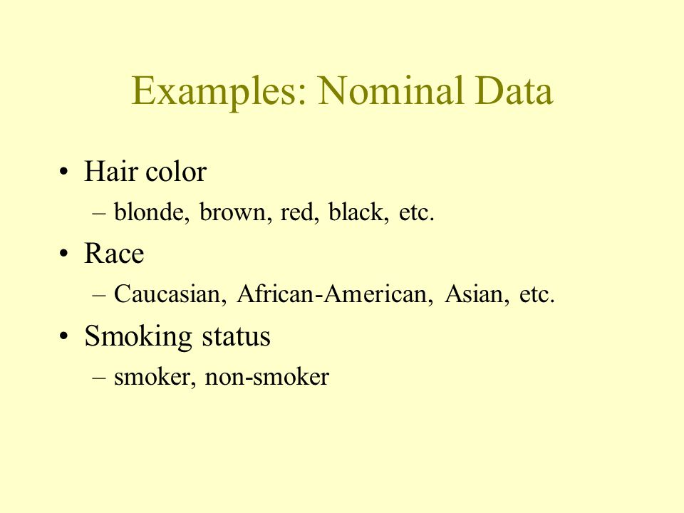 Nominal Data A type of categorical data in which objects fall into unordered categories.