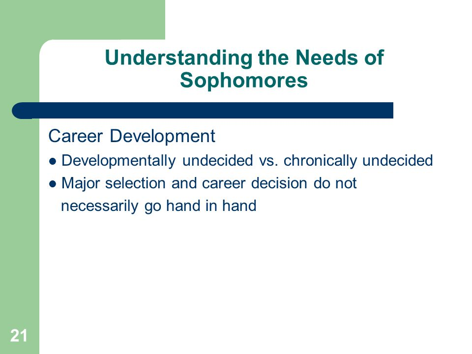 Understanding the Needs of Sophomores Career Development Developmentally undecided vs.