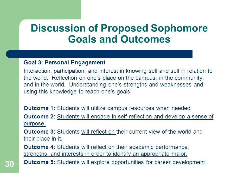 Discussion of Proposed Sophomore Goals and Outcomes Goal 3: Personal Engagement Interaction, participation, and interest in knowing self and self in relation to the world.