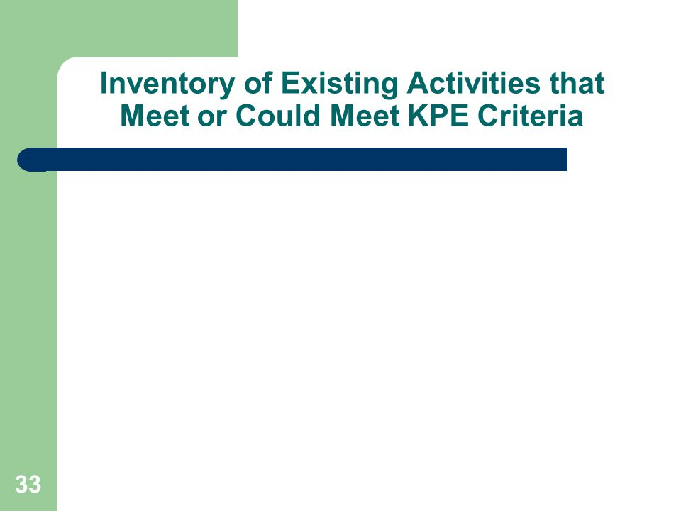 33 Inventory of Existing Activities that Meet or Could Meet KPE Criteria