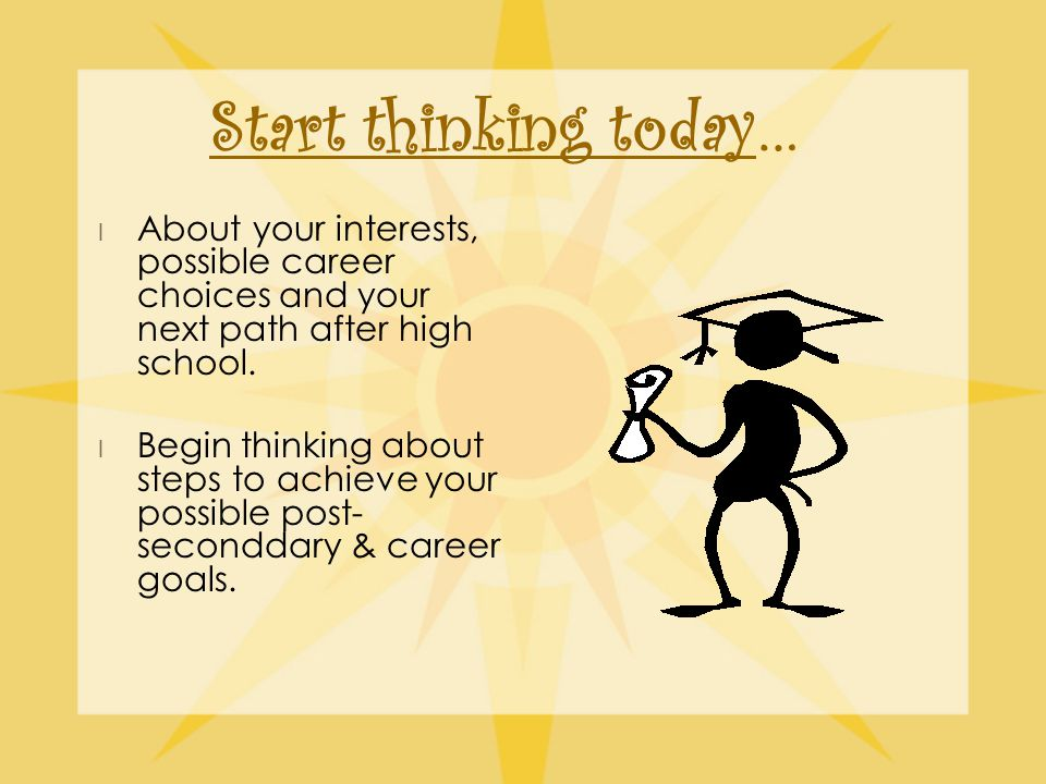 Start thinking today… l About your interests, possible career choices and your next path after high school.
