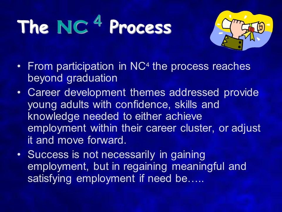 The NC 4 Process From participation in NC 4 the process reaches beyond graduation Career development themes addressed provide young adults with confidence, skills and knowledge needed to either achieve employment within their career cluster, or adjust it and move forward.