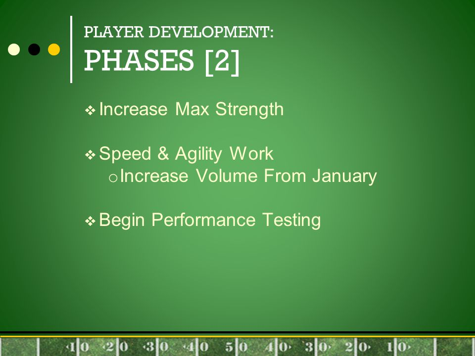 PLAYER DEVELOPMENT: PHASES [2]  Increase Max Strength  Speed & Agility Work o Increase Volume From January  Begin Performance Testing