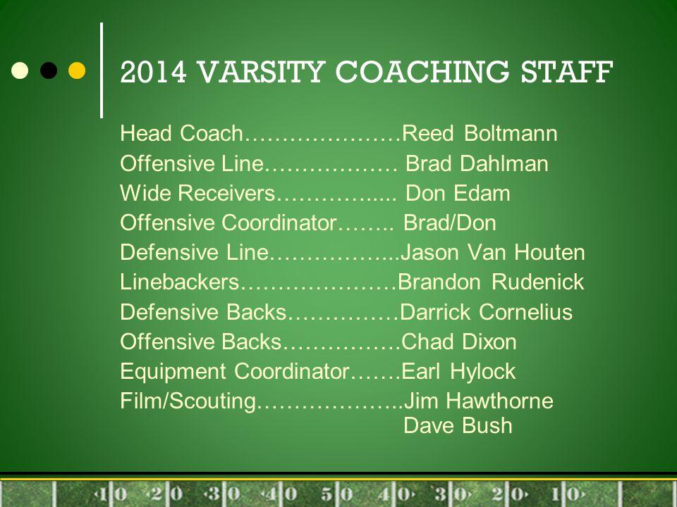 2014 VARSITY COACHING STAFF Head Coach…………………Reed Boltmann Offensive Line……………… Brad Dahlman Wide Receivers………….....