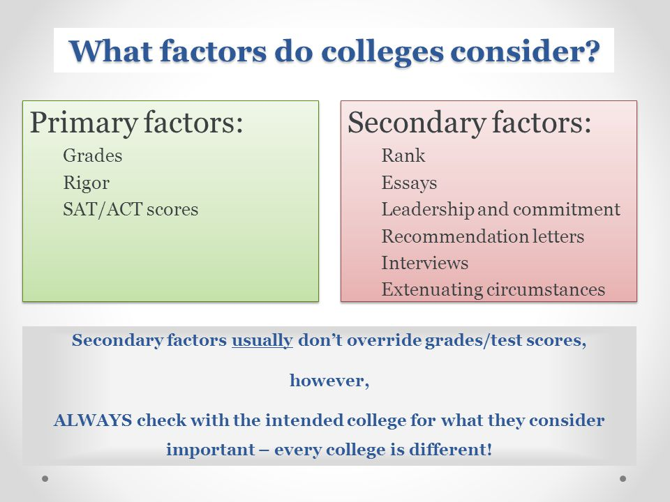What factors do colleges consider.