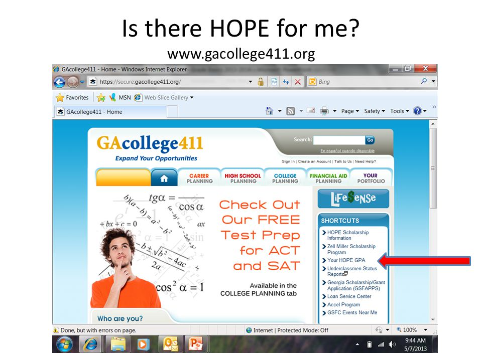 Is there HOPE for me www.gacollege411.org